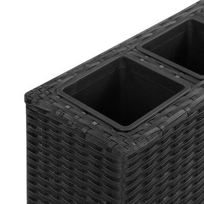 vidaXL Plantenbak verhoogd met 4 potten 80x22x79 cm poly rattan zwart