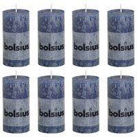Bolsius Rustiekkaarsen 8 st 100x50 mm donkerblauw