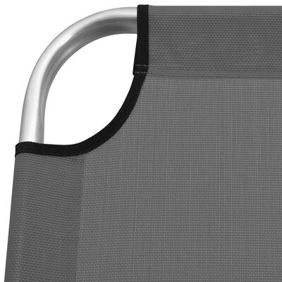 vidaXL Ligbed extra hoog inklapbaar senior aluminium grijs
