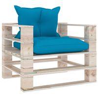 vidaXL Tuinbank met blauwe kussens pallet grenenhout