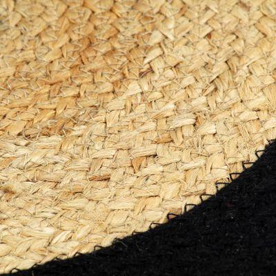 vidaXL Placemats 6 st 38 cm jute en katoen natuurlijk en zwart