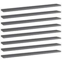 vidaXL Wandschappen 8 st 80x10x1,5 cm spaanplaat hoogglans grijs