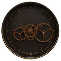 Gifts Amsterdam Wandklok Radar Paul 36 cm goudkleurig en bruin