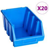 vidaXL Stapelbakken 20 st kunststof blauw