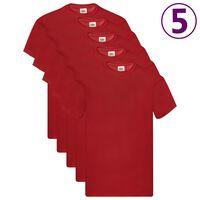 Fruit of the Loom T-shirts Original 5 st L katoen rood