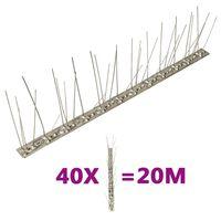vidaXL Vogel- en duivenpinnen met 5 rijen 40 st 20 m roestvrij staal