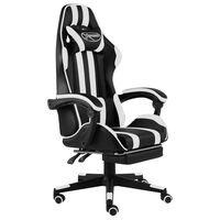 vidaXL Racestoel met voetensteun kunstleer zwart en wit