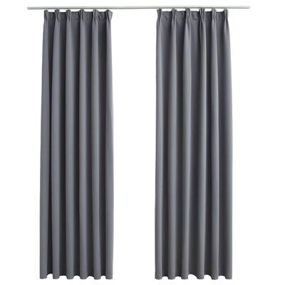 vidaXL Gordijnen verduisterend met haken 2 st 140x175 cm grijs
