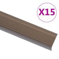 vidaXL Trapneuzen L-vormig 15 st 134 cm aluminium bruin