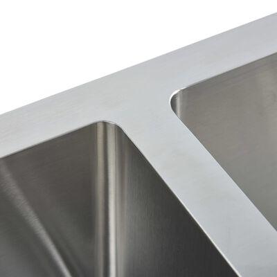 vidaXL Gootsteen met afvoer handgemaakt roestvrij staal