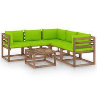 vidaXL 6-delige Loungeset met heldergroene kussens grenenhout