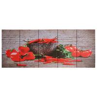 vidaXL Wandprintset paprika 150x60 cm canvas meerkleurig