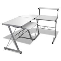 Computer bureau set met uitschuifbaar toetsenbord schap ( Wit)