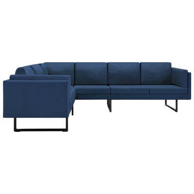 vidaXL Hoekbank stof blauw