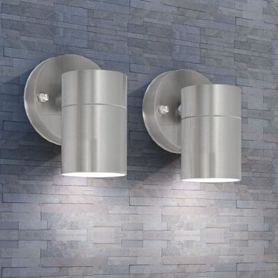 vidaXL LED-wandlamp buiten neerwaarts RVS 2 st, Silver