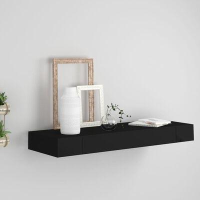 vidaXL Wandschap met lade zwevend 80x25x8 cm zwart