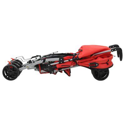 vidaXL Kinderwagen/buggy 2-in-1 inklapbaar staal rood