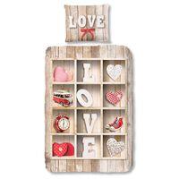 Good Morning Flanel dekbedovertrek Love - Multi -  140x200/220 cm