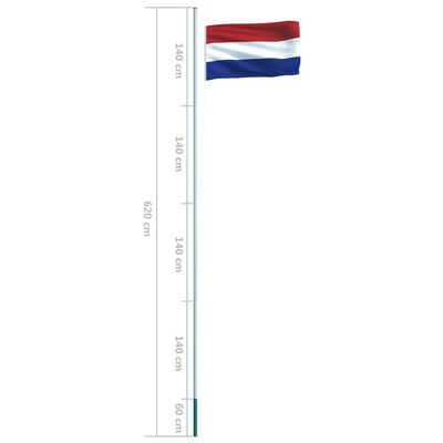 vidaXL Vlag met vlaggenmast Nederland 6,2 m aluminium