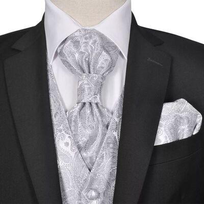 Gilet set mannen paisleymotief bruiloft maat 50 zilver