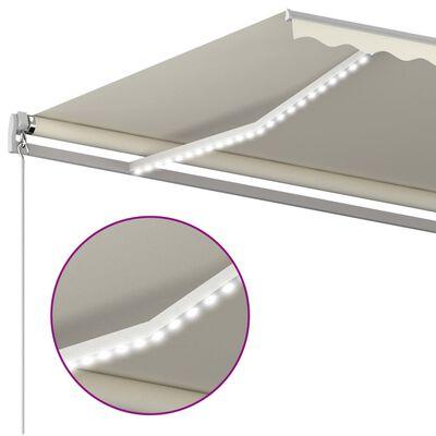 vidaXL Luifel handmatig uittrekbaar met LED 6x3,5 m crèmekleurig