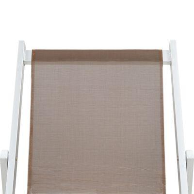 vidaXL Strandstoelen inklapbaar 2 st aluminium en textileen bruin