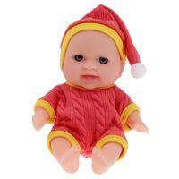 Toi-Toys babypop met kledingset 14 cm rood/geel