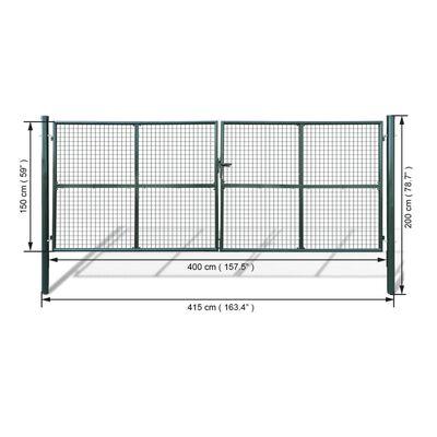 Tuinpoort met gaasmatvulling 415 x 200 cm / 400 x 150 cm