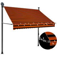 vidaXL Luifel handmatig uittrekbaar met LED 200 cm oranje en bruin