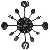 vidaXL Wandklok lepel-en-vork 40 cm aluminium zwart