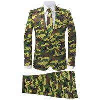 vidaXL Tweedelig herenkostuum met stropdas camouflage print maat 52