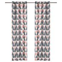 vidaXL Gordijnen met metalen ringen 2 st 140x245 cm katoen grijs roze