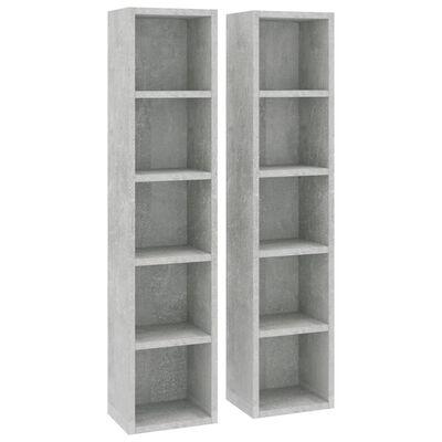 vidaXL Cd-kasten 2 st 21x16x93,5 spaanplaat betongrijs