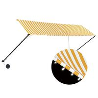 vidaXL Luifel uittrekbaar met LED 400x150 cm geel en wit
