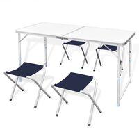 Campingtafel inklapbaar en verstelbaar aluminium 120 x 60 cm 4 stoelen