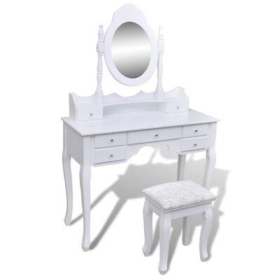 vidaXL Kaptafel met 7 lades, spiegel en krukje wit