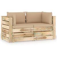 vidaXL Tuinbank 2-zits met kussens groen geïmpregneerd hout