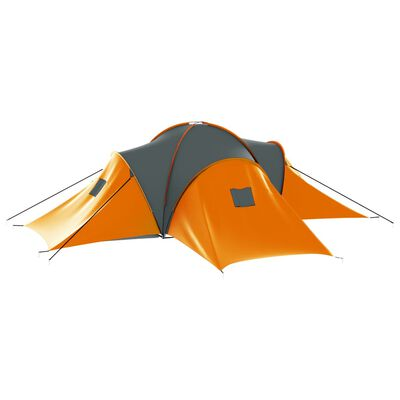 vidaXL Tent 9-persoons stof grijs en oranje