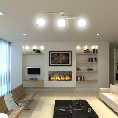 vidaXL Plafondlamp glazen kappen + golvende rail voor 3 x E14 peertjes