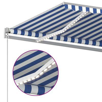 vidaXL Luifel automatisch met LED en windsensor 500x300 cm blauw wit