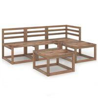 vidaXL 5-delige Loungeset bruin geïmpregneerd grenenhout