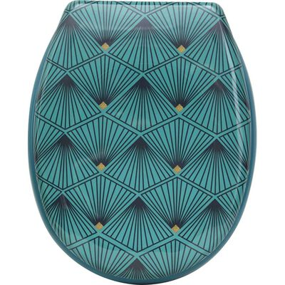Toiletbril – Toiletzitting – Wc-bril – Art Deco Print – Verchroomde