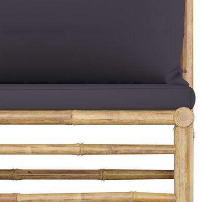 vidaXL 4-delige Loungeset met donkergrijze kussens bamboe