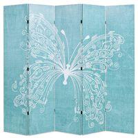 vidaXL Kamerscherm inklapbaar vlinder 200x170 cm blauw