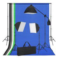 vidaXL Studioset met softboxlampen en achtergronden