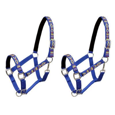 vidaXL Hoofdstellen voor paard maat pony nylon blauw 2 st