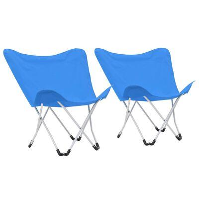 vidaXL Vlinderstoelen inklapbaar blauw 2 st