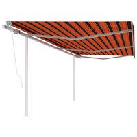 vidaXL Luifel automatisch uittrekbaar met palen 6x3 m oranje en bruin