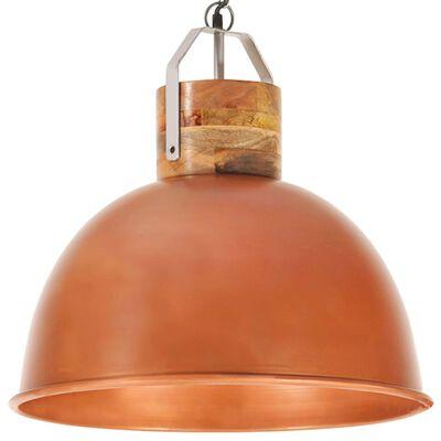 vidaXL Hanglamp industrieel rond E27 51 cm mangohout koperkleurig