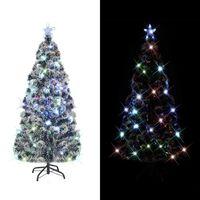 vidaXL Kunstkerstboom met standaard/LED 150 cm glasvezel